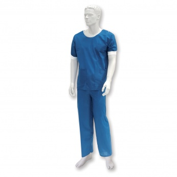 Surgical shirt, short-sleeved,  with elastic cuffs, non-woven, non-sterile